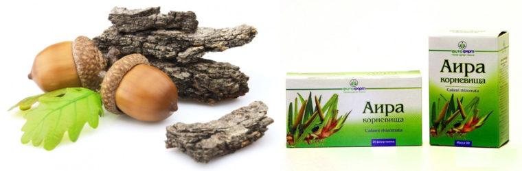 Кора дуба и корень аира